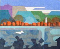 Chiemsee, Pastellmalerei, Fraueninsel, Zeichnungen