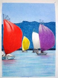 Zeichnung, Pastellmalerei, Chiemsee, Zeichnungen