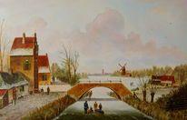 Winter, Mühle, Zeitgenössischer maler, Eis