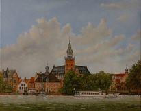 Zeitgenössischer maler, Zeitgenössisch, Ölmalerei, Welle