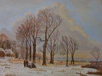 Winter, Himmel, Zeitgenössischer maler, Malerei