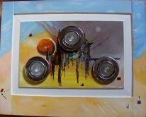 Zeitgenössischer maler, Malerei, Ölmalerei, Halogenstrahler