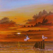 Wattenmeer, Zeitgenössische malerei, Weltnaturerbe, Möwe