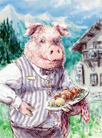 Illustration, Schwein, Deutschland, Menschen