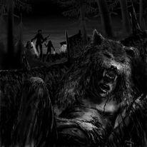 Wolf, Mann, Illustration, Contemporay