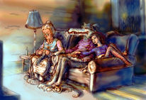 Wolf, Sofa, Illustration, Wetter