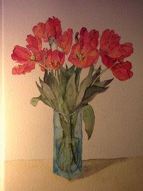 Tulpen, Blumen, Aquarell, Pflanzen