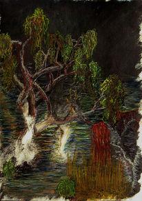 Wasser, Traum, Weide, Acrylmalerei