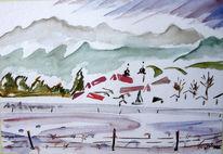Malerei, Bergen, Winter, Kloster