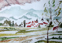 Malerei, Winter, Sommer, Kloster