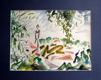 Malerei, Abstrakt, Blick, Haus