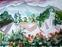 Malerei, See, Bergen