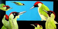 Ölmalerei, Vogel, Specht, Günspechte