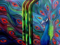 Pfau, Vogel, Tiere, Ölmalerei