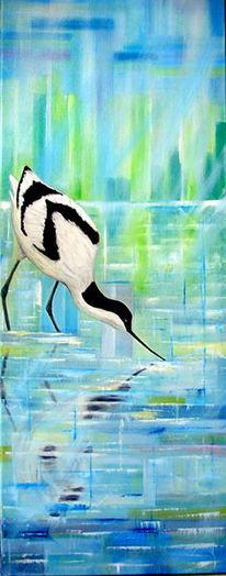 Licht, Wasser, Vogel, Ölmalerei
