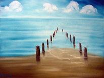 Wasser, Wolken, Ölmalerei, Meer