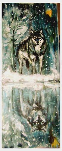 Tiere, Spiegel, Wolf, Malerei