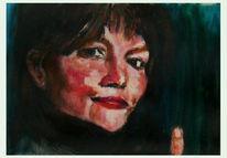 Acrylmalerei, Portrait, Finger, Malerei