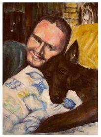 Menschen, Acrylmalerei, Freundschaft, Hund