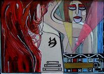 Spiegel, Frau, Malerei, Surreal