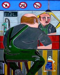 Spiegel, Keinpe, Mann, Malerei
