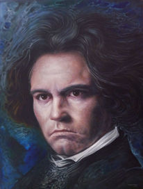 Beethoven, Surreal, Portrait, Malerei