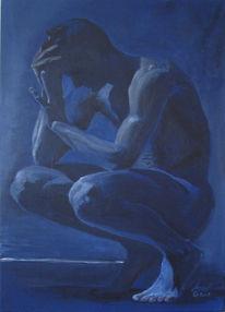 Mann, Männlich, Akt, Blau