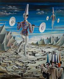 Zeitgenössische kunst, Akrobatik, Surreal, Malerei