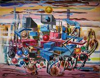 Landschaft, Abstrakte malerei, Zeitgenössische malerei, Modern