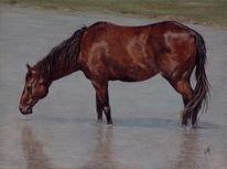 Bad, Malerei, Pferde, Wasser