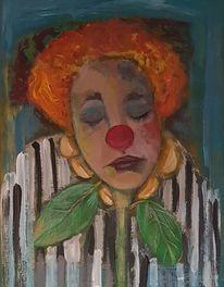 Malerei, Clown, Sonnemblune, Stille