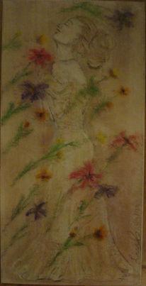 Sängerin, Frau, Blumen, Pastellmalerei