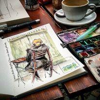 Skizzenbuch, Aquarellmalerei, Skizze, Zeichnen