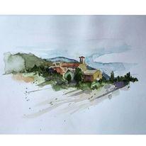 Italien, Aquarellmalerei, Varldi rose, Malreise
