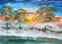 Nebel, Acrylmalerei, Herbst, Malerei