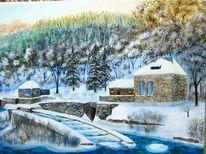 Landschaft, Fluss, Malerei