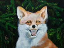 Fuchs, Tiere, Acrylmalerei, Rot