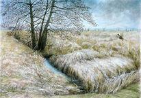 Frühling, Landschaft, Abens, Aquarellmalerei