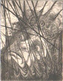 Prominent, Karikatur, Grafik, Schreck