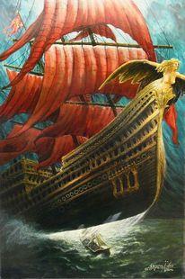 Wasser, Fliegendes schiff, Ruderboot, Schiff