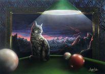 Billardkugel, Katze, Katzenfreunde, Tiermalerei