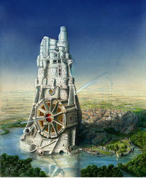 Hopfenfeld, Turm, Phantastischer realismus, Schrägkuppel