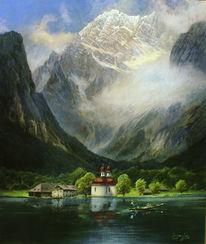 Landschaftsmalerei, Nebel, Sonnenaufgang, Bad reichenhall