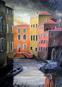 Brücke, Regen, Venedig, Acrylmalerei