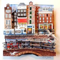 Gracht, Brücke, Amsterdam, 3d