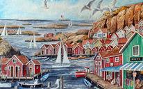 Steg, Aquarellmalerei, Bohuslän, Segel