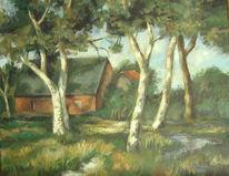Worpsweder, Haus, Malerei, Birken