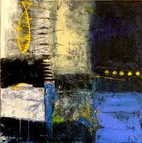 Malerei, Abstrakt, Blau, Gelb
