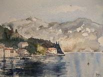 Dorf, Alpen, See, Aquarell