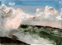 Südtirol wolken, Aquarell, Südtirol